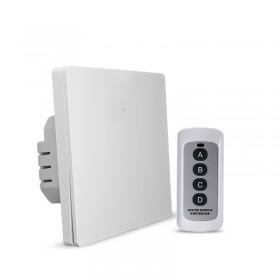 Выключатель света с WiFi подключением АВК-606-К1 (1 клавиша, пульт) Белый матовый