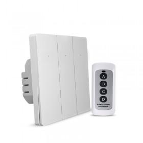 Выключатель света с WiFi подключением АВК-606-К3 (3 клавиши, пульт) Белый матовый