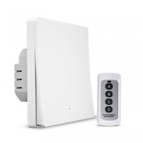 Выключатель света с WiFi подключением АВК-605-К1 (1 клавиша, пульт) Белый матовый