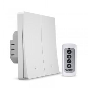 Выключатель света с WiFi подключением АВК-605-К2 (2 клавиши, пульт) Белый матовый