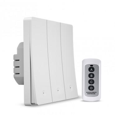 Выключатель света с WiFi подключением АВК-605-К3 (3 клавиши, пульт) Белый матовый