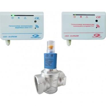 Сигнализатор загазованности Карбон -2 с клапаном КЭМГ-А-25 (размер Ду-25, метан CH4 + угарный газ CO)