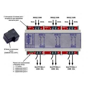 Внешний блок силовых реле (3 реле на 5 кВт каждое)